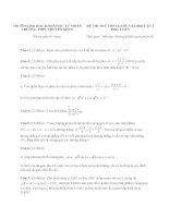 Đề thi thử THPT quốc gia môn toán của trường THPT chuyên KHTN   lần 1   năm 2016