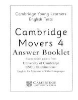Cambridge YLE movers 4  answer booklet cambridge young learner english test