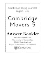 Cambridge YLE movers 5  answer booklet cambridge young learner english test