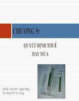 Bài giảng tài chính doanh nghiệp   chương 9  quyết định thuê hay mua (đh công nghiệp TP  HCM)
