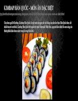 Kimbap Hàn Quốc  Món ăn đặc biệt
