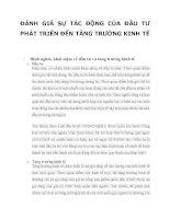 ĐÁNH GIÁ sự tác ĐỘNG của đầu tư PHÁT TRIỂN đến TĂNG TRƯỞNG KINH tế