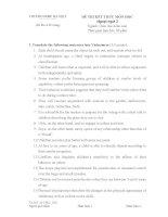 Tieng anh (GDMT GDTC GDTH) học kỳ 1 (2014 2015)   đề thi có đáp án ĐHSP hà nội