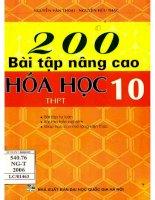 200 bài tập nâng cao hóa học 10  NXB đại học quốc gia 2006
