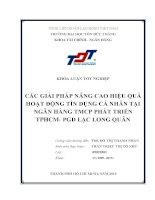 CÁC GIẢI PHÁP NÂNG CAO HIỆU QUẢ HOẠT ĐỘNG TÍN DỤNG CÁ NHÂN TẠI NGÂN HÀNG TMCP PHÁT TRIỂN TPHCM PGD LẠC LONG QUÂN