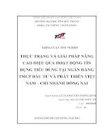 THỰC TRẠNG VÀ GIẢI PHÁP NÂNG CAO HIỆU QUẢ HOẠT ĐỘNG TÍN DỤNG TIÊU DÙNG TẠI NGÂN HÀNG TMCP ĐẦU TƯ VÀ PHÁT TRIỂN VIỆT NAM – CHI NHÁNH ĐỒNG NAI