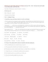 Đề thi kiểm tra học kỳ 1 môn tiếng Anh lớp 10 năm 2015 có đáp án