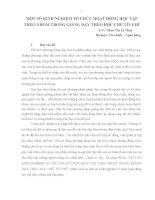 MỘT SỐ KINH NGHIỆM TỔ CHỨC HOẠT ĐỘNG HỌC TẬP THEO NHÓM TRONG GIẢNG DẠY THEO HỌC CHẾ TÍN CHỈ