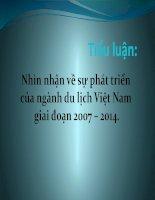 tiểu luận kinh tế phát triển Nhìn nhận về sự phát triển của ngành du lịch Việt Nam giai đoạn 2007 – 2014.