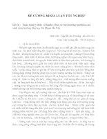 ĐỀ CƯƠNG KHÓA LUẬN TỐT NGHIỆP  Đề tài :  Thực trạng ý thức về hành vi bảo vệ môi trường tự nhiên của sinh viên trường Đại học Sư Phạm Hà Nội