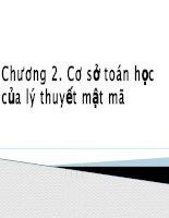 Bài giảng an toàn và bảo mật thông tin   chương 2 cơ sở toán học của lý thuyết mật mã