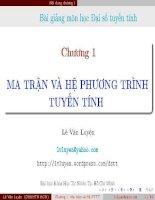 Bài giảng môn học đại số tuyến tính   chương 1  ma trận và hệ phương trình tuyến tính