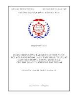 HOÀN THIỆN CÔNG tác QUẢN lý NHÀ nước đối với HÀNG ĐÔNG LẠNH tạm NHẬP, tái XUẤT vào THỊ TRƯỜNG TRUNG QUỐC của cục hải QUAN THÀNH PHỐ hải PHÒNG