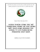 HOÀN THIỆN CÔNG tác kế TOÁN bán HÀNG và xác ĐỊNH kết QUẢ KINH DOANH tại CÔNG TY cổ PHẦN BETA  PHARMA VIỆT NAM