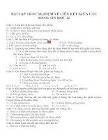 Bài tập trắc nghiệm về Liên kết giữa các bảng Tin học 12