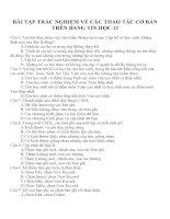 BÀI TẬP TRẮC NGHIỆM VỀ CÁC THAO TÁC CƠ BẢN TRÊN BẢNG TIN HỌC 12