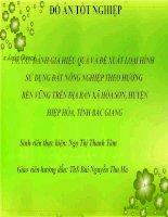 SLIDE ĐÁNH GIÁ HIỆU QUẢ và đề XUẤT LOẠI HÌNH sử DỤNG đất NÔNG NGHIỆP THEO HƯỚNG  bền VỮNG TRÊN địa bàn xã hòa sơn, HUYỆN  HIỆP hòa, TỈNH bắc GIANG