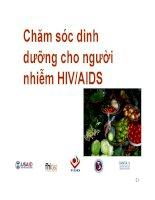 Bài giảng chăm sóc dinh dưỡng cho người nhiễm HIV AIDS