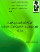 ỨNG DỤNG CÔNG NGHỆ TUYỂN NỔI (DAF) XỬ LÝ NƢỚC THẢI LÀNG NGHỀ TÁI CHẾ GIẤY PHONG KHÊ – BẮC NINH