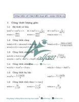 Tổng hợp công thức toán đại số giải tích lớp 12 theo 7 chủ đề