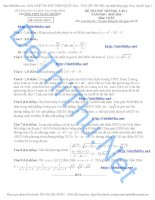 Đề thi thử môn toán  2016 Xuân Trường Nam ĐỊnh