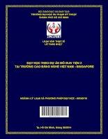 Dạy học theo dự án mô đun Tiện 2 tại trường Cao đẳng nghề Việt Nam - Singapore