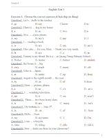 Đề kiểm tra tiếng anh lớp 4 có đáp án(English test 1  grade 4 with key )