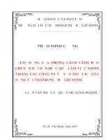 TÁC ĐỘNG của PHONG CÁCH LÃNH đạo CHUYỂN đổi đến HIỆU QUẢ làm VIỆC NHÓM TRONG các CÔNG TY tư vấn THIẾT kế xây DỰNG tại THÀNH PHỐ hồ CHÍ MINH