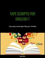 Tape script Bài nghe Tiếng Anh 7 Thí điểm