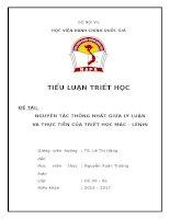 Nguyên tắc thống nhất giữa lý luận và thực tiễn của Triết học Mác Lê Nin. Liên hệ thực tiễn ở Việt Nam