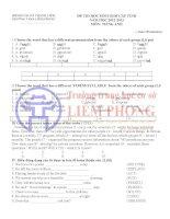 Đề thi HSG tiếng anh lớp 9 có đáp án