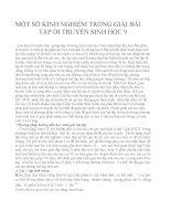MỘT số KINH NGHIỆM TRONG GIẢI bài tập DI TRUYỀN SINH học 9