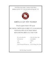 Hệ Thống Thông Quan Điện Tử (E-Manifest) Với Hàng Hóa Xuất Nhập Khẩu Bằng Đường Biển Của Việt Nam