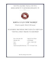 Thực Trạng Và Giải Pháp Xuất Khẩu Mặt Hàng Thuỷ Sản Của Việt Nam Vào Nga