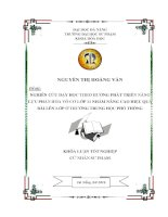 NGHIÊN CỨU DẠY HỌC THEO HƯỚNG PHÁT TRIỂN NĂNG LỰC PHẦN HÓA VÔ CƠ LỚP 11 NHẰM NÂNG CAO HIỆU QUẢ BÀI LÊN LỚP Ở TRưỜNG TRUNG HỌC PHỔ THÔNG