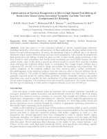 OPTIMIZATION OF SURFACE ROUGHNESS IN MICRO HIGH SPEED END MILLING OF SODA LIME GLASS USING UNCOATED TUNGSTEN CARBIDE TOOL WITH COMPRESSED AIR BLOWING