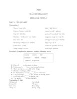 UNIT 5 TEACHER'S HANDOUT PERSONAL PROFILE