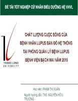 Chất lượng cuộc sống của các bệnh nhân lupus ban đỏ hệ thống tại phòng quản lý bệnh lupus   bệnh viện bạch mai năm 2015