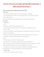 CÂU hỏi KHÓ môn SINH học 10