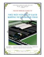 Dự án đầu tư nhà máy sản xuất gạch không nung THANH THÁI