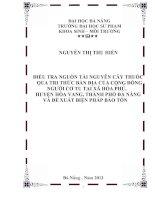 điều tra nguồn tài nguyên cây thuốc qua tri thức bản địa của cộng đồng người cơ tu tại xã hòa phú, huyện hòa vang, thành phố đà nẵng
