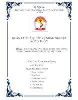Đề tài Hiện trạng ứng dụng khoa học công nghệ trong nông nghiệp tại Việt Nam
