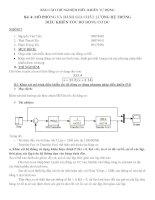 Báo cáo thí nghiệm điều khiển tự động bài 4 mô phỏng và đánh giá chất lượng hệ thống điều khiển tốc độ động cơ DC