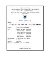 Đề tài công nghệ sản xuất nước mắm Phan Thiết luận văn, đồ án, đề tài tốt nghiệp