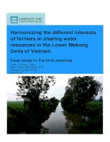 Harmonizing the different interests of farmers in sharing water resources in the lower mekong delta of vietnam