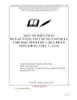 Rèn kỹ năng viết đúng chính tả cho học sinh lớp 1 qua phân môn Tiếng Việt 1  CGD