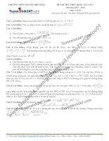 Đề thi thử môn toán 2016 trường thpt chuyên biên hòa lần 1