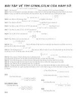 BÀI tập về tìm GTNN GTLN của hàm số