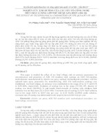 NGHIÊN cứu ẢNH HƯỞNG của các yếu tố CÔNG NGHỆ đến CHẤT LƯỢNG lớp PHỦ hồ QUANG điện AISI 316