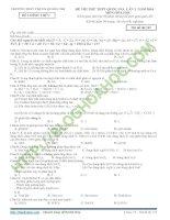Đề thi thử THPT QG hóa trường THPT thị xã quảng trị lần 1 – 2016